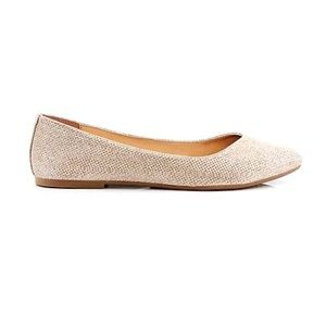 🎀3/$30 Girls Smart Fit Gold Glitter Flats Size 4